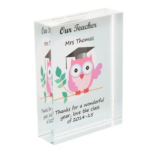 Teacher owl crystal personalised teacher thank you gift